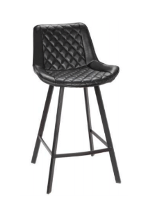BORDEAUX  LEATHERETTE BAR STOOL -  BLACK