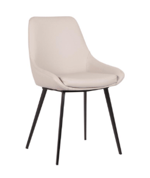 DOMO LEATHERETTE DINING CHAIR - LIGHT GREY
