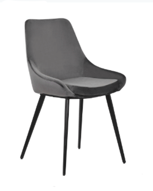 DOMO VELVET FABRIC DINING CHAIR - CHARCOAL