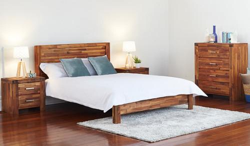 DOUBLE PHILLIPE BED - ACACIA - JAVA RUSTIC