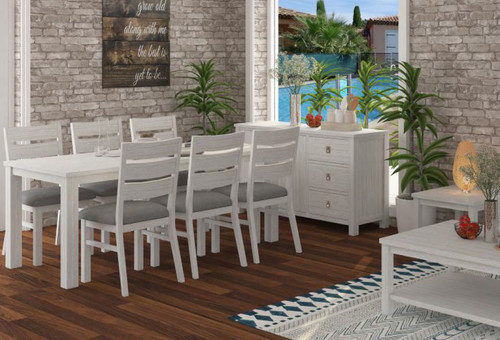 CLEMENTI 7 PIECE DINING SETTING - 1800(L) X 900(W) - BRUSHED WHITE