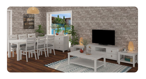 CLEMENTI 11 PIECE LIVING AND DINING PACKAGE - BRUSHED WHITE