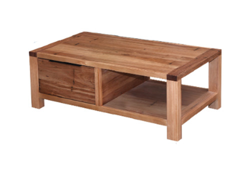BALDRINE 1 DRAWER COFFEE TABLE - WORMY CHESTNUT