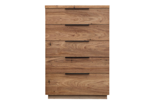 BALDRINE 5 DRAWER TALLBOY - WORMY CHESTNUT