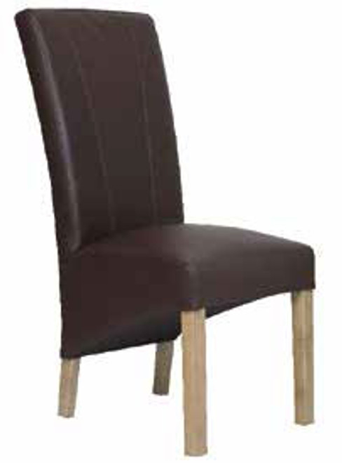 CARTER LEATHER DINING CHAIR - ESPRESSO / AGED OAK