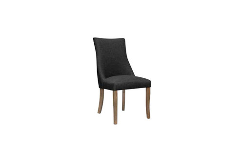 HUDSON FABRIC DINING CHAIR - GRAPHITE / AGED OAK