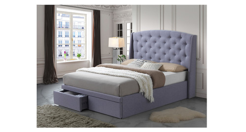 DOUBLE TURQUOISE FABRIC BED WITH DRAWERS (IM-5733) - LIGHT GREY