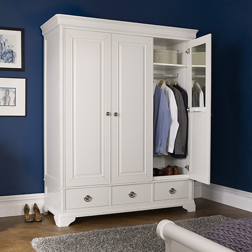 BLAIRE 3 DOOR/3 DRAWER WARDROBE - WHITE