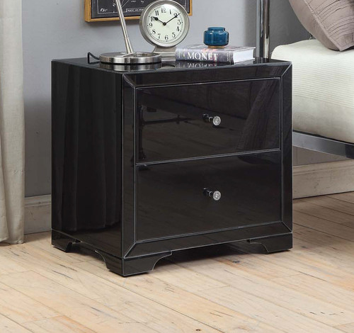BOULEVARD 2 DRAWER BLACK GLASS BEDSIDE TABLE - BLACK