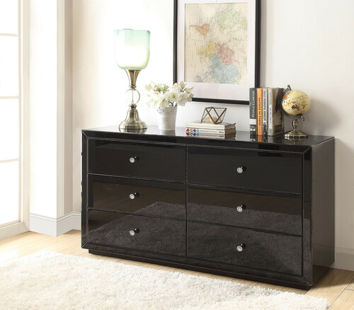 BOULEVARD 6 DRAWER BLACK GLASS LOW CHEST - BLACK