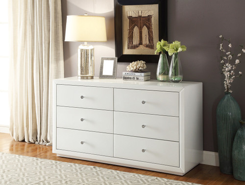BOULEVARD 6 DRAWER GLASS LOW CHEST - WHITE