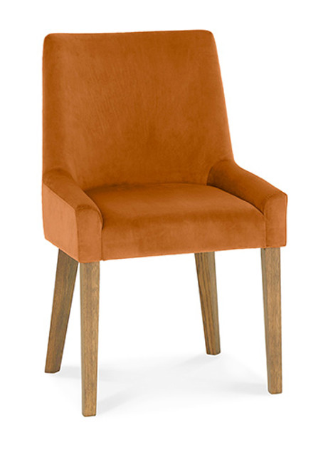 AERGLO SCOOP BACK DINING CHAIRS (LIGHT OAK HARVEST PUMPKIN FABRIC) - LIGHT OAK