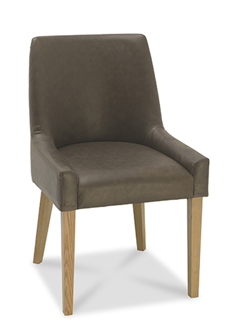 AERGLO SCOOP BACK DINING CHAIRS (LIGHT OAK DISTRESSED BONDED LEATHER) - LIGHT OAK