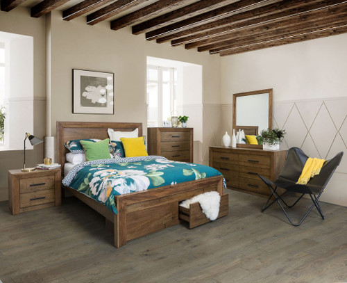 BLYTHE KING 5 PIECE (DRESSER) BEDROOM SUITE - WORMY OAK