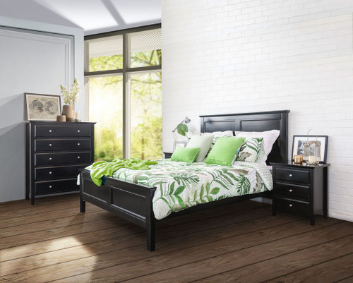 BALLINA KING 5 PIECE (DRESSER) BEDROOM SUITE - WHITE OR BLACK