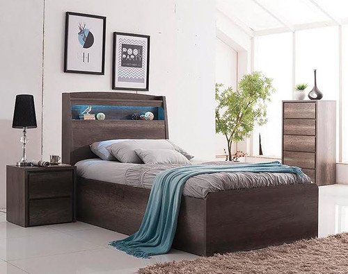 DOUBLE KESWICK FRONT GAS LIFT BED WITH LED LIGHT & STORAGE BEDHEAD - CHARCOAL OAK