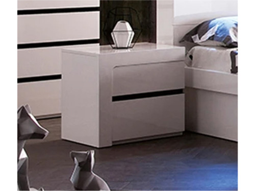 BEXLEY BEDSIDE TABLE WITH 2 DRAWERS (LS 708 BS) - GLOSS WHITE / CHARCOAL