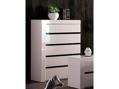 BEXLEY TALLBOY  WITH 5 DRAWERS ( LS 708 TB) -  GLOSS WHITE / CHARCOAL