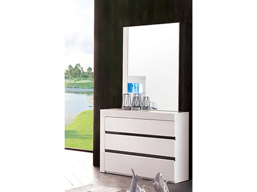 BEXLEY 6 DRAWER DRESSER WITH MIRROR (LS 708 DR) - GLOSS WHITE / CHARCOAL