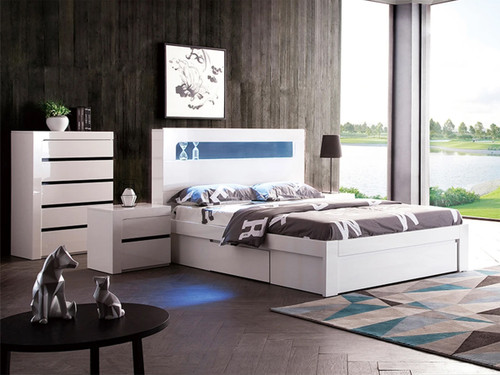 BEXLEY DOUBLE OR QUEEN 3 PIECE (TALLBOY) BEDROOM SUITE WITH LED LIGHTS AND STORAGE OPTIONS (LS 708 D/Q) -  GLOSS WHITE