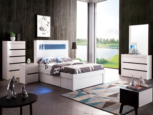 BEXLEY KING 6 PIECE (THE LOT) BEDROOM SUITE WITH LED LIGHTS AND STORAGE OPTIONS  (LS 708 K)-  GLOSS WHITE