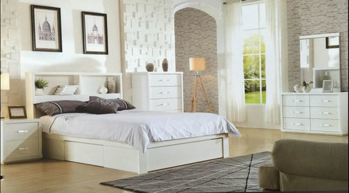 DOUBLE BENZIMA WITH LED LIGHT & UNIVERSAL STORAGE BED FRAME (LS 113 D) - GLOSS WHITE