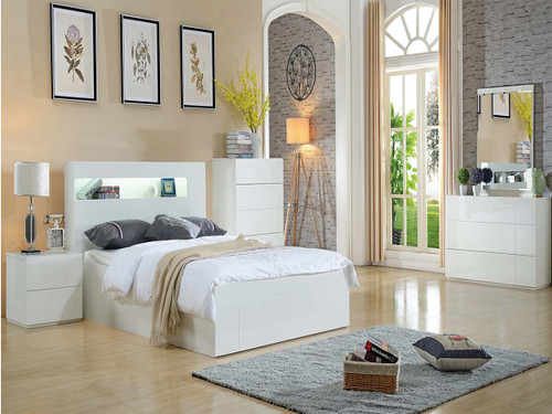 DOUBLE HENRY GAS LIFT BED WITH LED LIGHT  (LS 122 D) - GLOSS WHITE