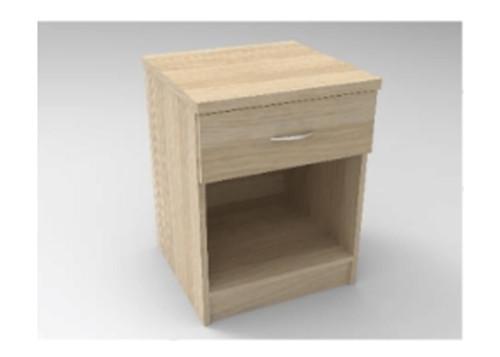 AUGUSTIN (MODEL:PRM451) 1 DRAWER BEDSIDE TABLE - 590(H) x 450(W) - LICORICE , SMOKE , OAK , WHITE