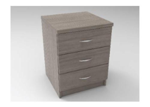 AUGUSTIN (MODEL:PRM453) 3 DRAWER BEDSIDE TABLE - 590(H) x 450(W) - LICORICE , SMOKE , OAK , WHITE