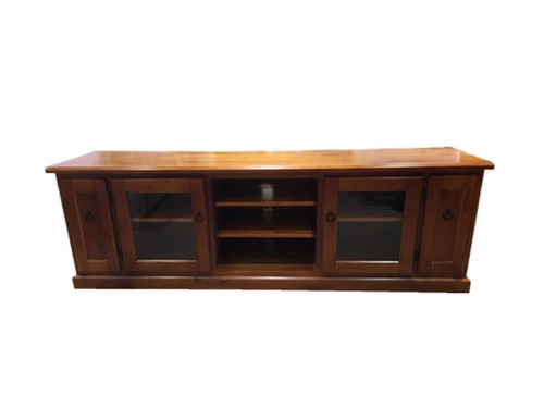 AVERIE TV UNIT WITH 2 GLASS DOORS AND 2 CVC PULL OUTS - 630(H) x 2000(W) - OLD ENGLISH