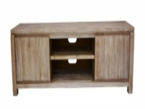 ARCHENAR TV UNIT WITH 2 NICHES AND DOOR (MODEL: VH-ASAH-04) - PEWTER/DARK EARTH
