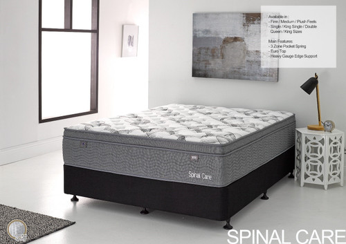 DOUBLE SPINAL CARE EURO TOP POCKET SPRING MATTRESS (MATTRESS & BASE) WITH PREMIUM BASE - FIRM - FIRM