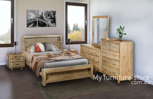CARNIVAL QUEEN 5 PIECE (DRESSER) BEDROOM SUITE WITH BOOKEND BED - BRUSHED GREYWASH