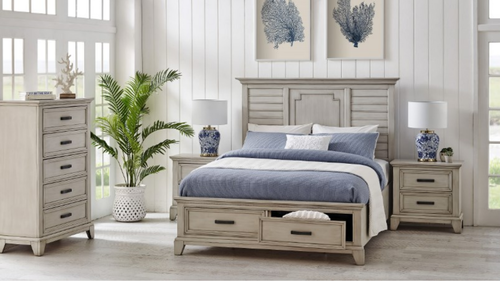 BLOOMINGTON QUEEN 4 PIECE (TALLBOY) BEDROOM SUITE - ANTIQUE WHITE