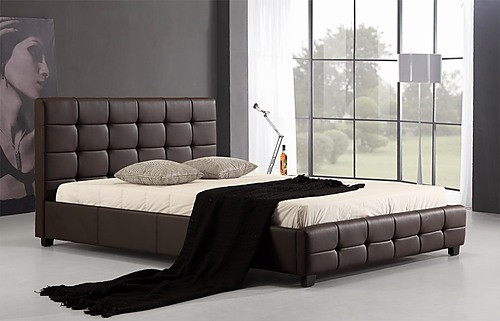 DOUBLE THORFINN LEATHER DELUXE BED FRAME - BROWN