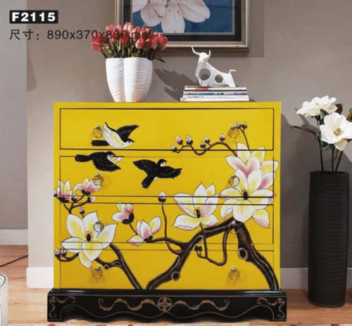 BRANTLY DECORATIVE 4 DRAWER LOWBOY WIDE CHEST (MODEL:F2115) - 860(H) x 890(W) - AS PICTURED