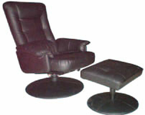 CARLO RECLINER CHAIR AND STOOL - LEATHERETTE - CHOCOLATE, BLACK OR IVORY