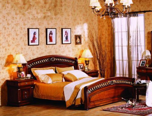 BONAPARTE QUEEN 4 PIECE TALLBOY BEDROOM SUITE (TALLBOY NOT PICTURED) - AGED WALNUT