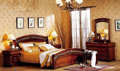 BONAPARTE QUEEN 6 PIECE BEDROOM SUITE - AGED WALNUT