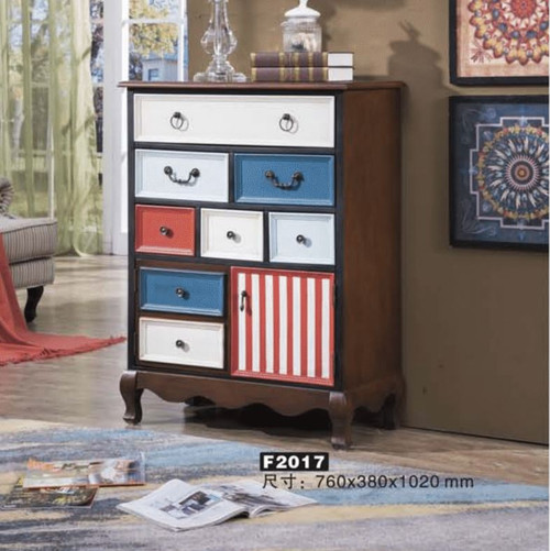 DURHAM  DECORATIVE TALLBOY  CHEST OF 8  DRAWERS & 1 DOOR   (MODEL:F2017) - 1020(H) X 760(W)- AS PICTURED