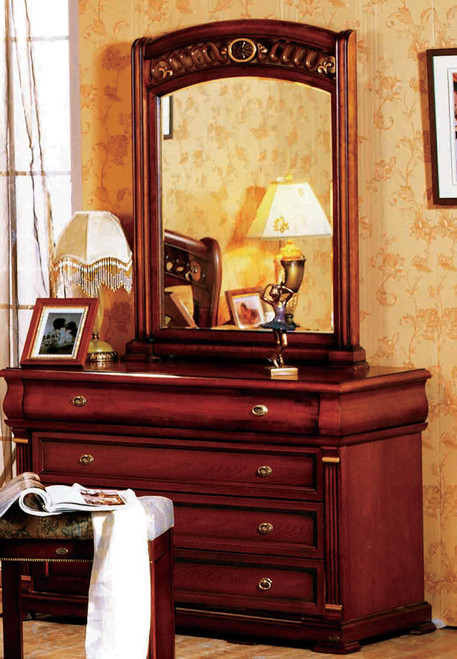 BONAPARTE DRESSING TABLE WITH MIRROR AND STOOL - 782(H) x 1200(W)  - AGED WALNUT