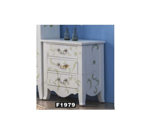 DEMIAN DECORATIVE 3 DRAWER BEDSIDE TABLE (MODEL:F1979) - WHITE CARCASS / WALNUT TOP
