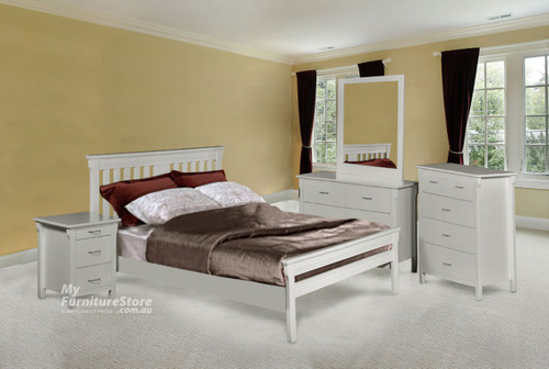 PARKVIEW (DB-ROM/QB-ROM) (MODEL 18-15-13-1-14-25) QUEEN 4 PIECE TALLBOY BEDROOM SUITE - WHITE