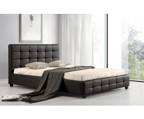 DOUBLE DELUXE LEATHERETTE BED FRAME - BLACK
