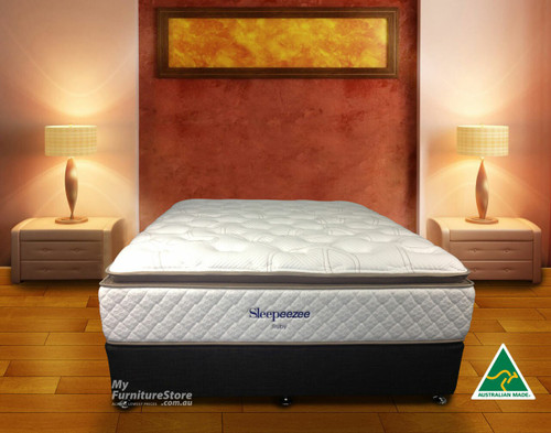 QUEEN RUBY (MK3) PILLOW TOP POCKET SPRING ENSEMBLE (BASE & MATTRESS) WITH GEL INFUSED VISCO - CHOICE OF BASE COLOURS - FIRM