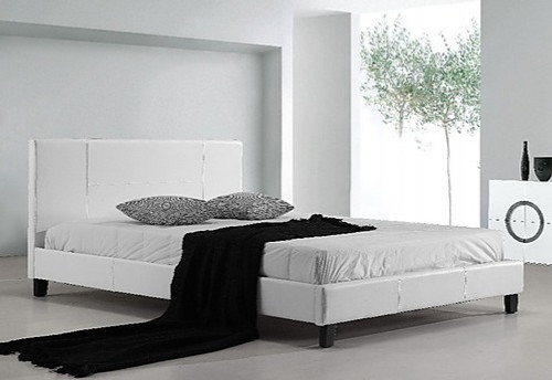 DOUBLE ARIZONA LEATHERETTE BED FRAME - WHITE