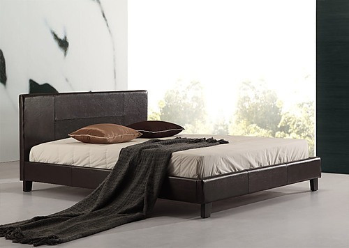 DOUBLE AROSA LEATHERETTE BED FRAME - BROWN
