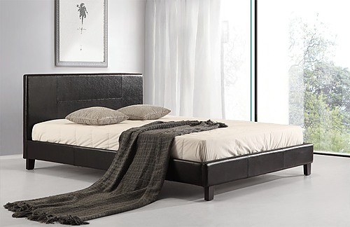 DOUBLE MAINE LEATHERETTE BED FRAME - BLACK