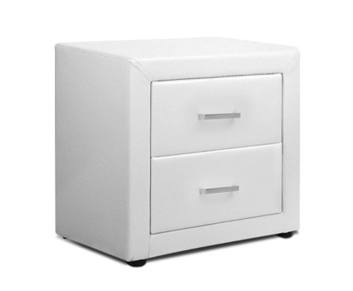 HANNAH 2 DRAWER LEATHERETTE BEDSIDE TABLE - WHITE