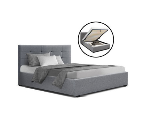 DOUBLE RAFFY FABRIC GAS LIFT STORAGE BED - GREY